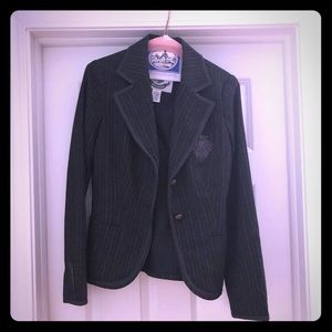One of a kind jacket in charcoal/gray stripes. SzS